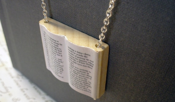 Alice in Wonderland Modern Mini Wooden Book Necklace