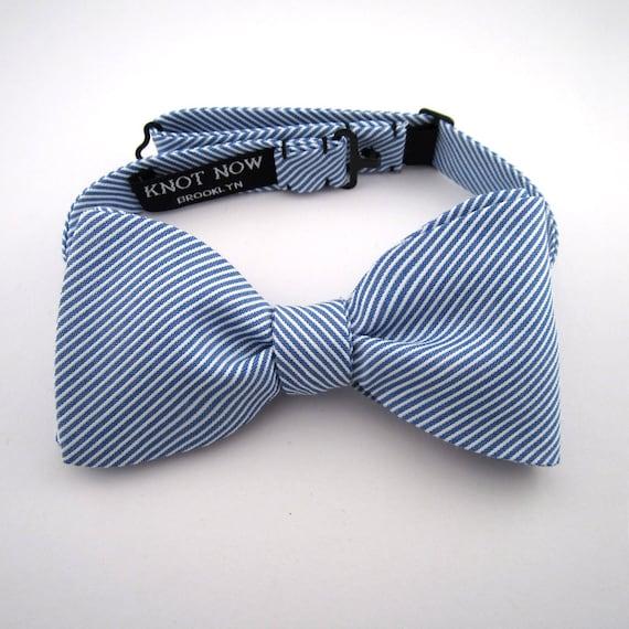 Men's Bow Tie - Blue and White Striped Cotton
