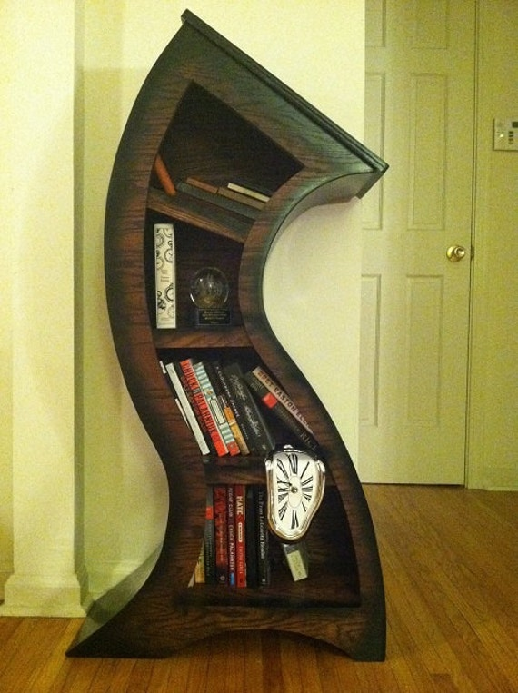 FREE MELTING CLOCK with purchase,Handmade 4ft Curved Bookshelf Oak Stained/Blk