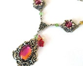Glass filigree pendant necklace - rainbow glass jewel, antique silver, Swarovski crystals. Vintage style necklace. Filigree jewelry, Fall. - ArtfulTrinkets1