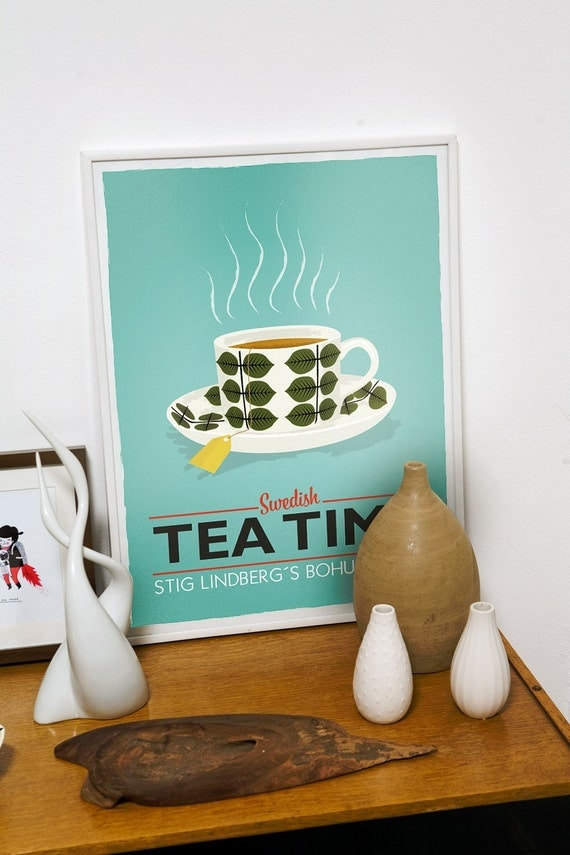 Tea poster  teacup print Kitchen art - Stig Lindberg Bersa - Swedish tea time A3  turquoise  wall decor