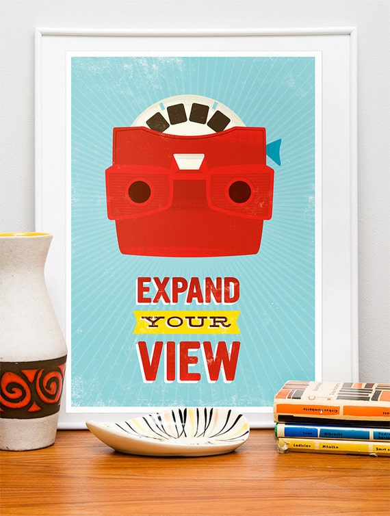 Retro Geekery poster, quote print, pop art, nursery art, inspirational quote, motivational wall art - Viewmaster, expand your view A3