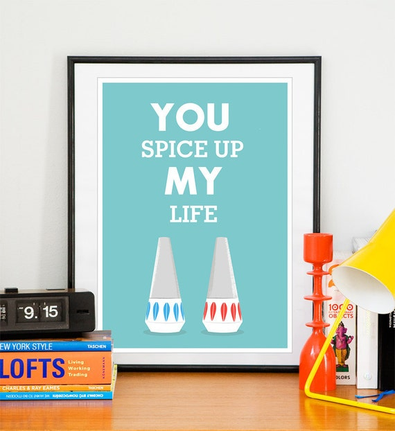 "Wedding Gift  Anniversary Present  Quote art  Love print  Cathrineholm poste ""you spice up my life"" A3"