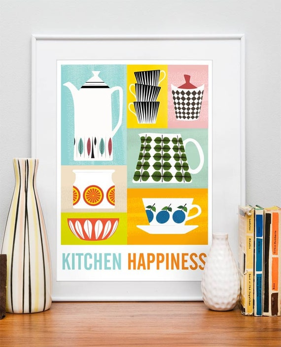 Kitchen art print, Cathrineholm poster, art for Kitchen, cooking art, under 20,  Kitchen Happiness A4 or 8x10