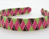 Pink, Green, and Brown Ribbon Woven Headband - ALittleRosieBowtique