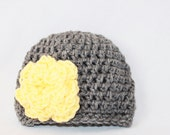 Newborn Flower Hat - Infant Flower Hat- Baby Flower Beanie - Crochet Baby Hat Flower - Newborn Crochet Hat - Gray Yellow - MyStitchInTime
