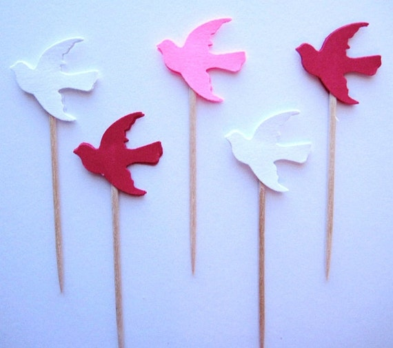 24 Red White Pink Dove Bird Party Picks - Cupcake Toppers - Toothpicks - Food Picks - die cut punch FP144