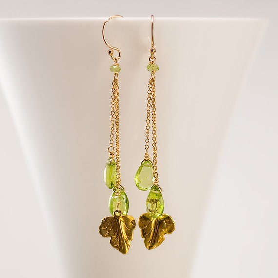 August Birthstone Earrings - Peridot Earrings - Long Peridot drop earrings with gold vermeil leaf charms - Gold earrings