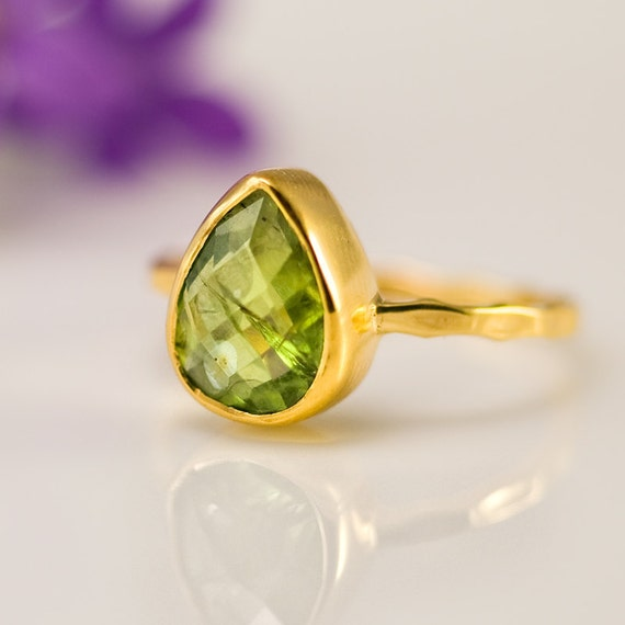 10% Off - Pear Shape Peridot Ring - Bezel Ring  - Gemstone Ring- Gold Ring - August Birthstone Ring - Size  4, 5, 6, 7, 8, 9