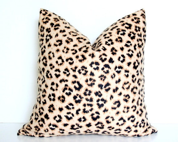 "Leopard Print Linen Blend 17"" Pillow Cover"