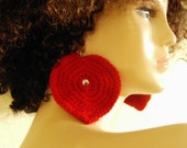 Big Bold Red Heart Earrings with Rhinestone Center