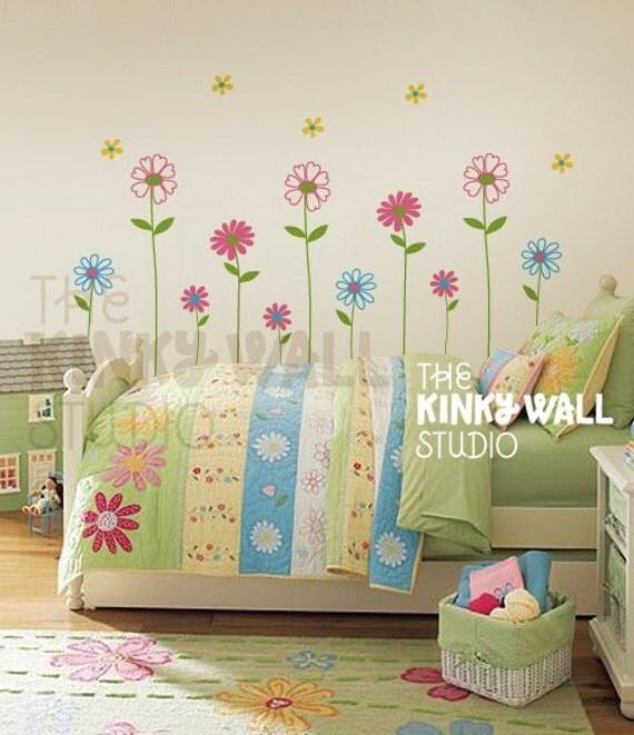 Daisy garden vinyl sticker wall decal baby girl nursery kk101s
