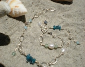 Barefoot on the Beach anklet, sterling silver, amazonite, green aventurine, apatite, white agate, white pearls - greygirldesigns
