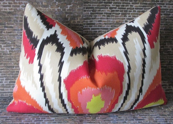 Trina Turk Designer Lumbar Pillow Cover - Peacock Punch 12 x 16, 12 x 18