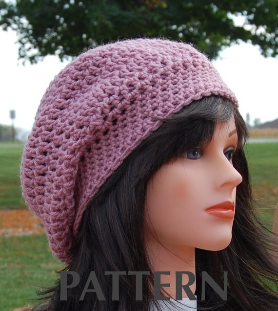 Adult slouchy hat crochet pattern