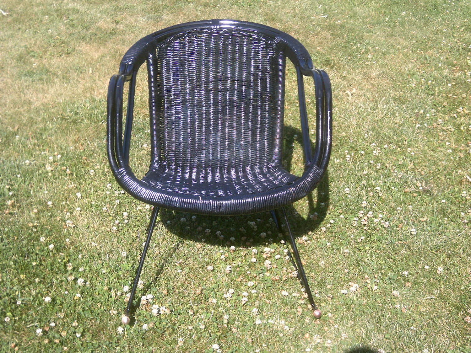 Outdoor Black Wicker Rocking Chairs