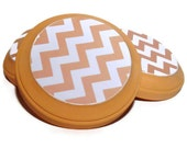 Coral Chevron Coasters