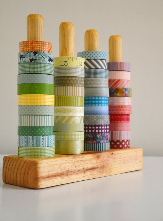 Washi Tape Organizer - Wood Masking Tape Holder - Eco friendly Japanese Tape Dispenser for 48 rolls - coworkers gift - under 50