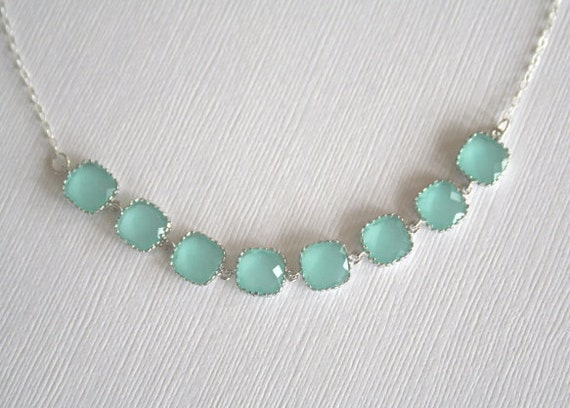 Teal Crystal Necklace -- Sterling Silver (GOLD Available). Wedding Gift. Bridal Jewelry. Gift for Her. Gift under 40. Bridesmaid Bracelet.