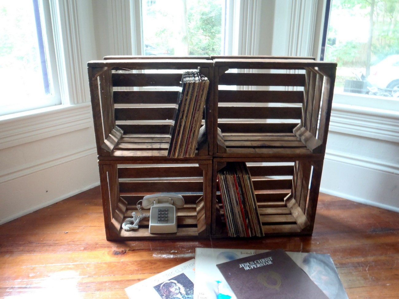 Wooden crates record holders home furniture pinterest Wooden crates furniture