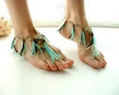 Barefoot Sandals Belly Dance Foot Jewelry Aqua Brown Gypsy Hippie Bohemian Feathers Shoe Toe Thong - MoJosFreeSpirit