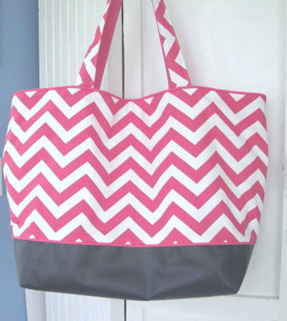 Beach Bag, Extra Large, Tote, Pink Chevron with Water Resistant Navy Blue Vinyl Bottom with FREE Vinyl Zipper Pouch, Other Colors Available
