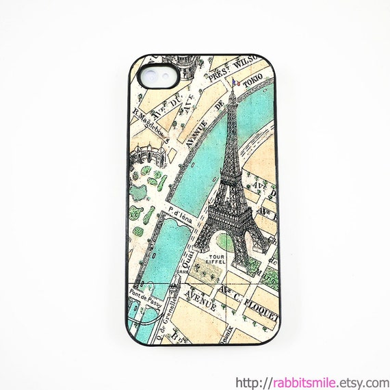iPhone 4 Case, iPhone 4s Case, iPhone 4 Cover, Hard iPhone 4 Case, iPhone case -- Vintage Paris Map - eiffel tower
