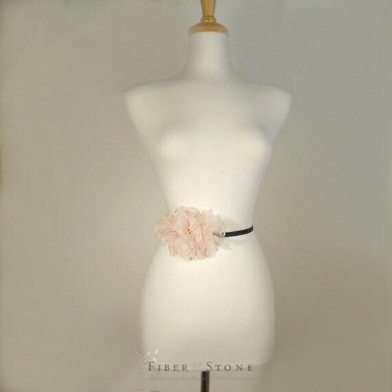 Pink Wedding Dress Sash : Blush pink wedding dress sash flower pure silk by
