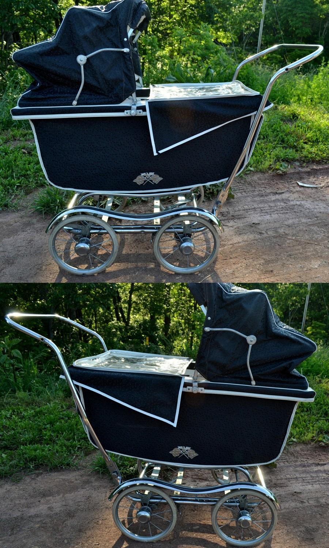 Baby Carriage Babyhood Wonda Chair High Chair Stroller Navy Aqua 1960s    FotoFuze