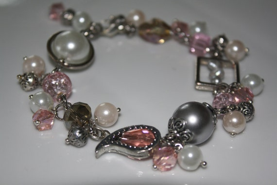 Romantic pink, grey and silver charm bracelet