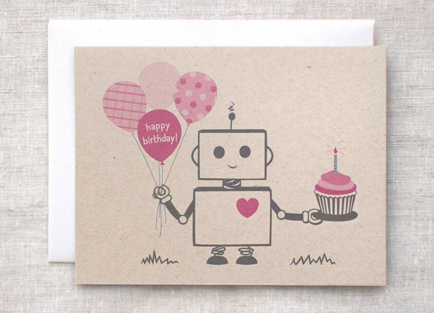 Robot Birthday Card by Happy Dappy Bits