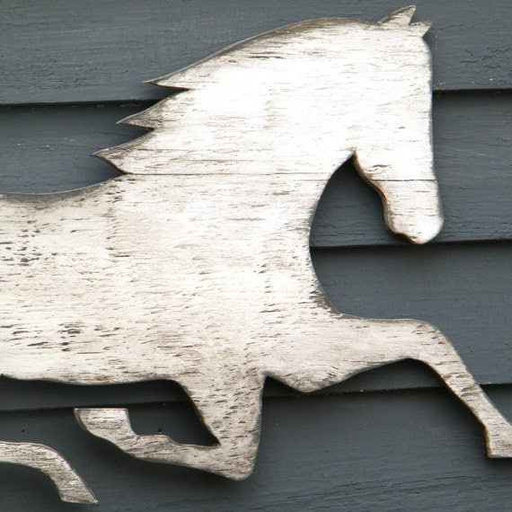 Horse Wooden Sign White Washed Distressed Large Size