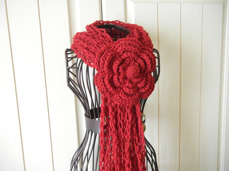 Crochet Lariat Flower Scarf  Blood Red Crochet Scarf Crochet Flower Scarves