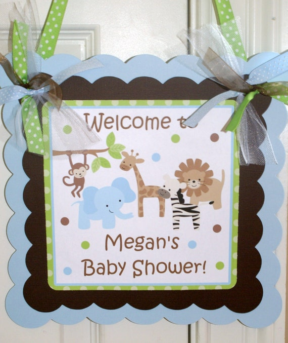 Safari Baby Shower and Safari Birthday Party Welcome Door Sign by The Party Paper Fairy