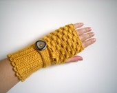 Autumn Gold Arm Warmers, Mustard Yellow Fingerless Gloves Women Crochet - vintageniltb