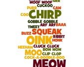 Word Collage Art Print - Animal Sounds - 8x10 - cjprints