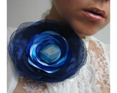 XL Blue flower brooch - NANAVELpl