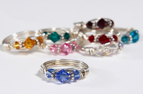 Birthstone Ring: Handmade Sterling Silver Birthstone Ring made with Swarovski Crystals