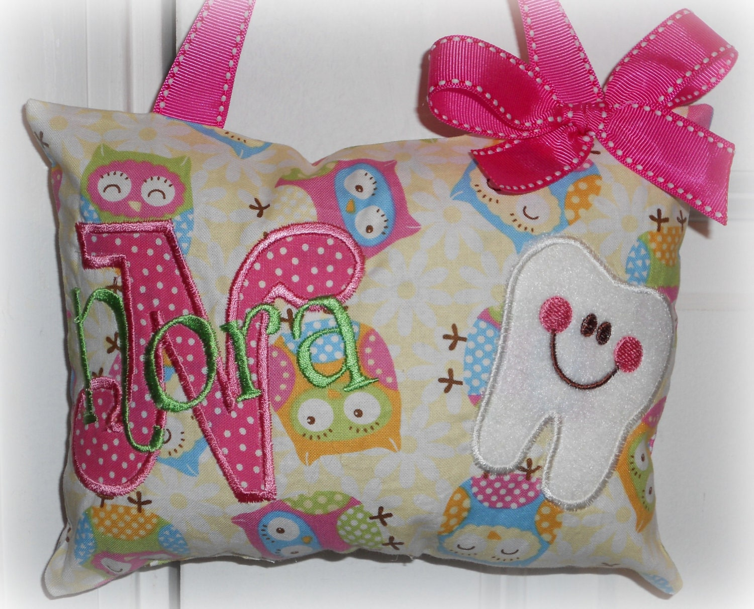 Boutique Custom Personalized Tooth Fairy Pillow by SandDStitches