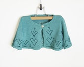 Knitted Baby Bolero Jacket - Turquoise Blue, 2 - 2.5 years - SasasHandcrafts