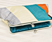"8"" Silver, Orange, Teal, and Yellow Silk Clutch - SimplyClutch"