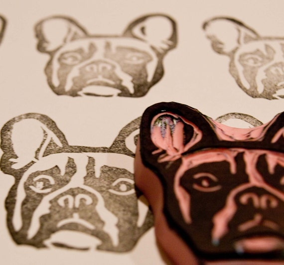 READY to SHIP New Size French Bulldog Rubber Stamp Small,  Frenchie Dog Rubber Stamp Letterboxing