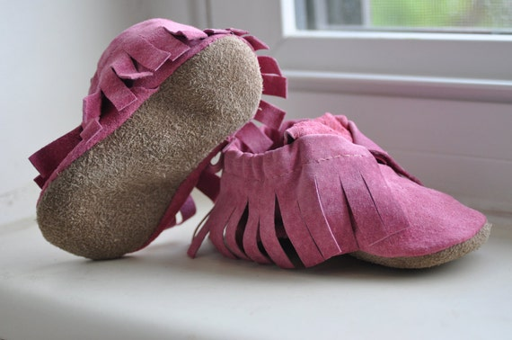 Eco Friendly Pink leather moccasins