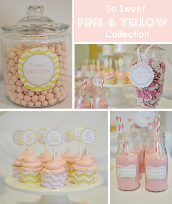 DIY Printables Chevron & Bunting FULL collection (Light Pink or Teal)