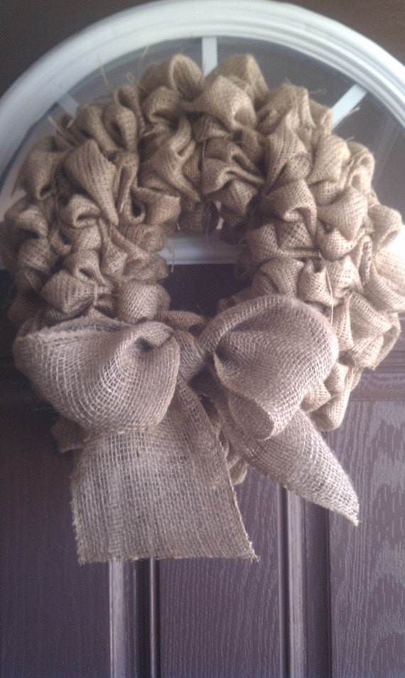 Burlap Wreath with Burlap Bow