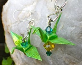 Origami Crane Earrings Irridescent Green - HanaGarden