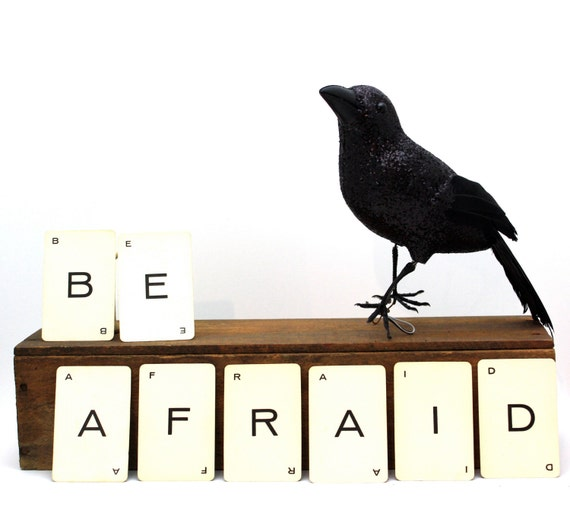 halloween decoration display BE AFRAID  cards set of eight alphabet cards spooky - SameSameMaryJane