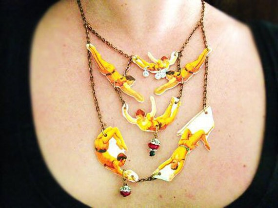 Statement Necklace Circus Vintage Inspired with Yellow Flying Acrobats