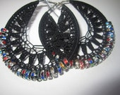 Sale Black Crochet Rondelle hoops with multi colored crystal - Basketball Wives inspired