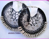 Grey and black Crochet Hoop Earrings